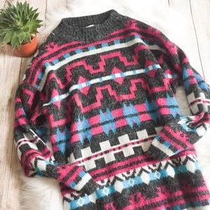 Vintage 80s Abstract Pattern Oversized Sweater